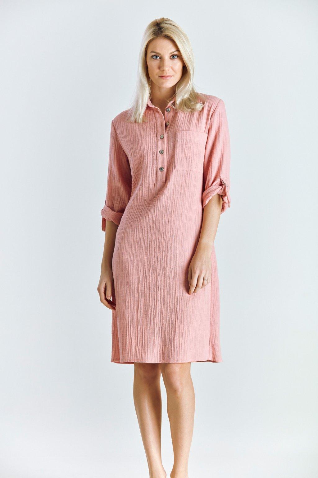 Dámské šaty košilové šaty lososové