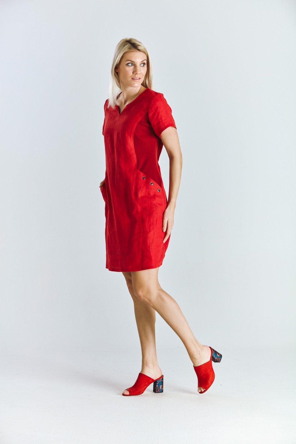 Dámské šaty s kroužky len červený