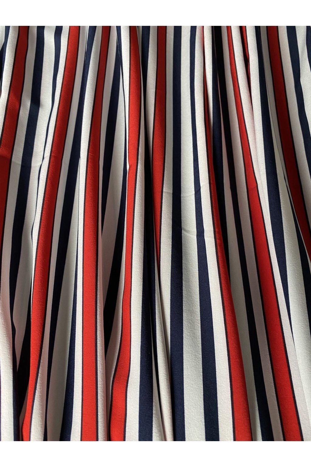 Šatovka silky modro-červené proužky