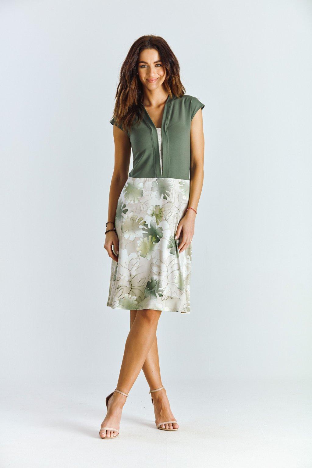 Dámské šaty s kombinované listy