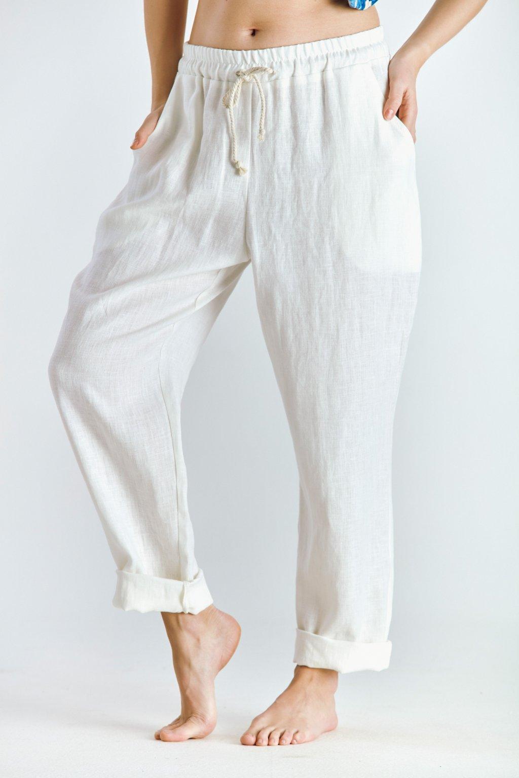Dámské  kalhoty lněné smetana