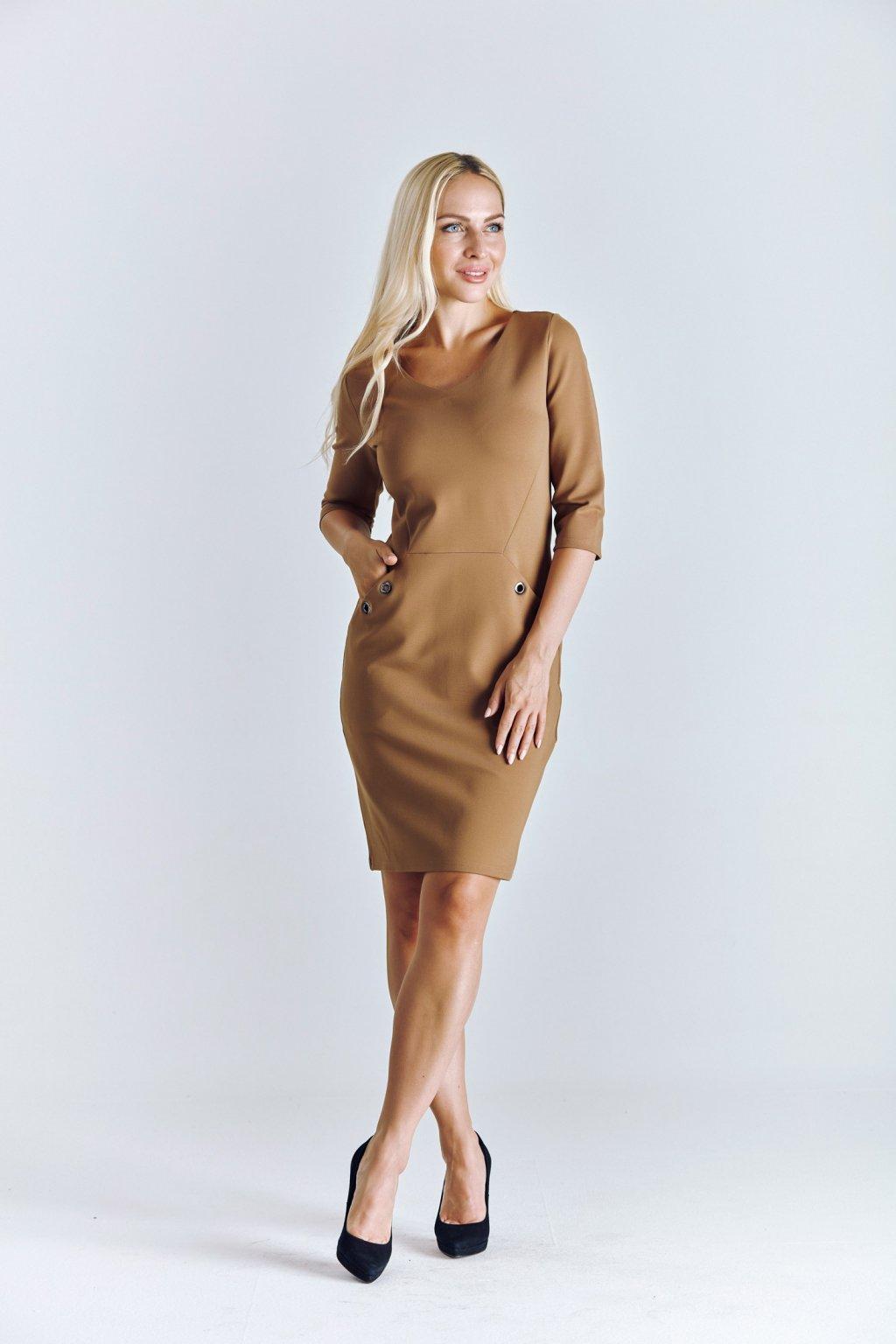 pouzdrové dámské šaty béžové