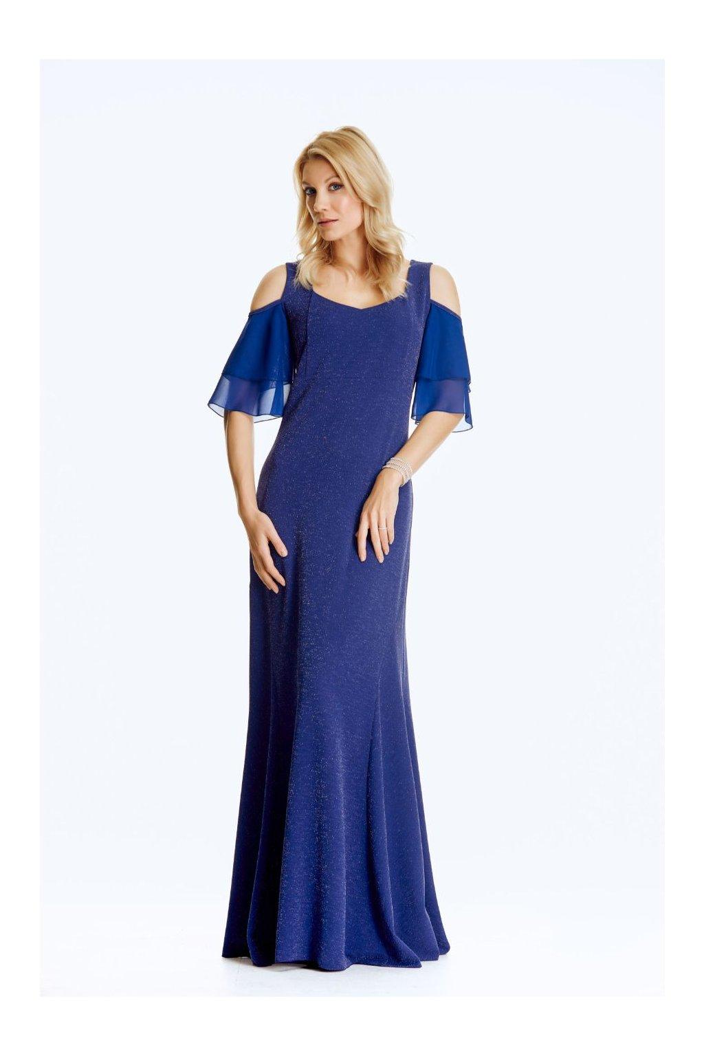 Společenské šaty se šifónovými rukávy dlouhé
