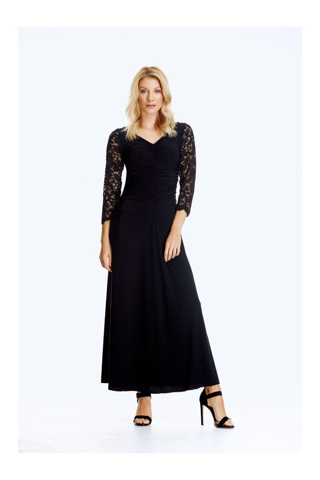 Společenské šaty s řasením dlouhé
