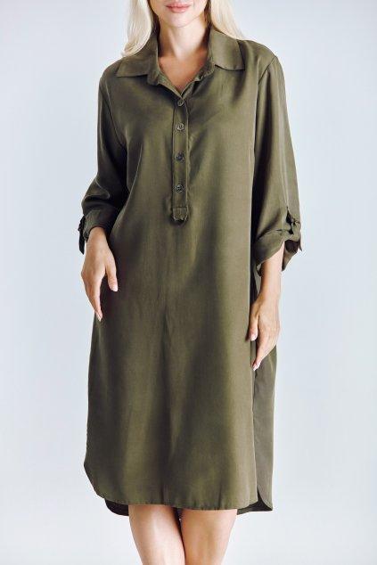 Dámské košilové šaty z Tencelu khaki