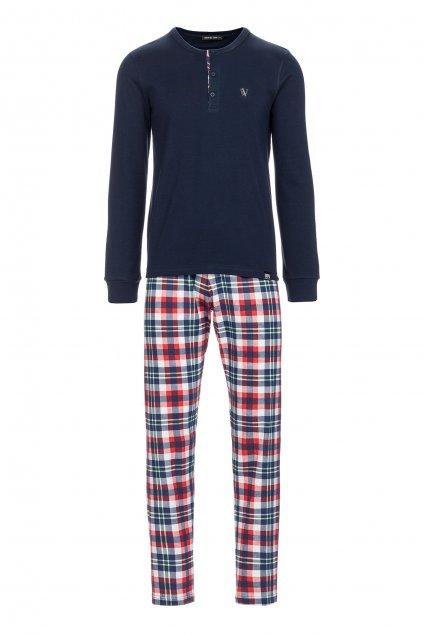 Pánské pyžamo zn. Vamp tm.modré s knoflíčky