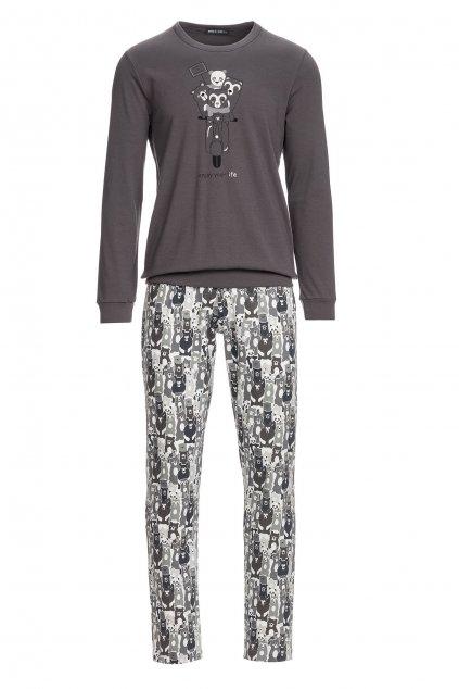 Pánské pyžamo Vamp s potiskem medvídků na skútru