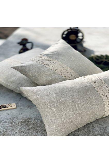 Povlaky na polštář lněné s krajkou 2