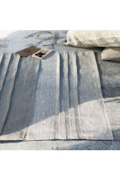 Ubrus lněný běhoun se sklady, 1x0,48 m