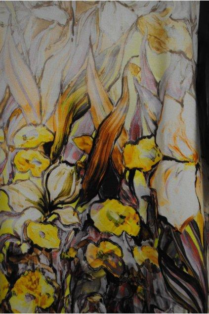 Šatovka tkanina s bordurou s květy