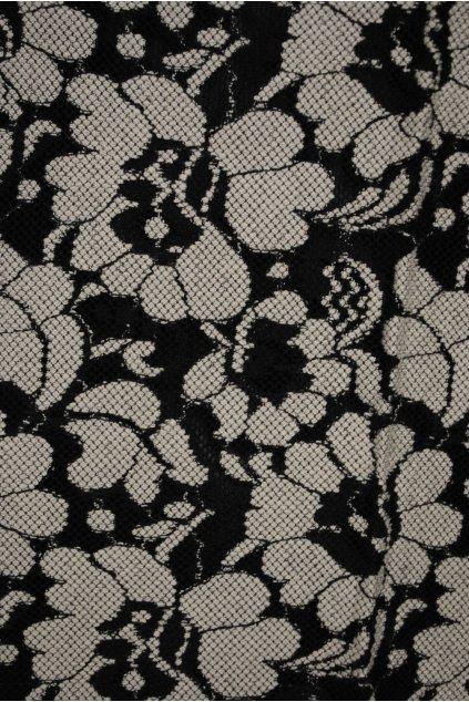Krajka černo-smetanové květy