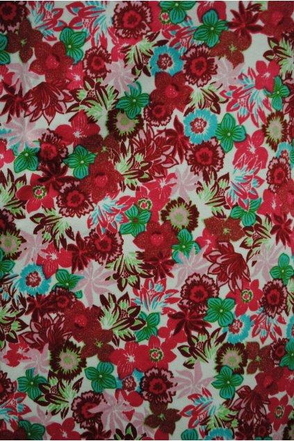 Bavlněná tkanina s růžovými květy