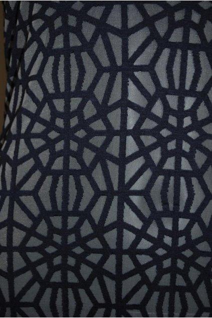 Elastický tyl se vzorem tmavě modrý