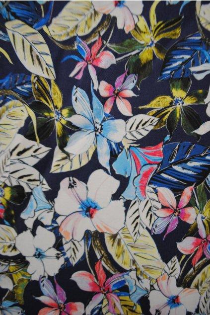 Bavlněná tkanina barevné květy na modré