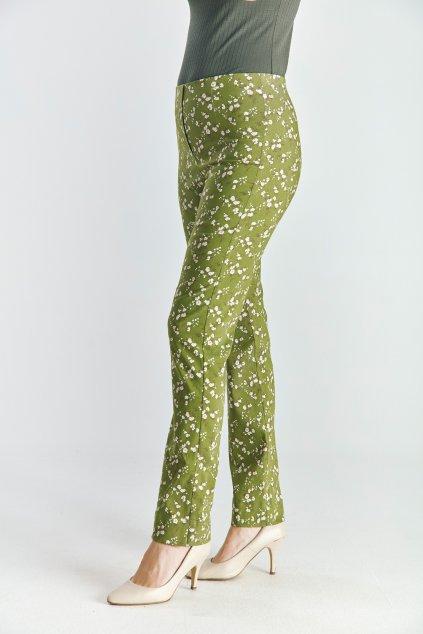 Dámské  kalhoty do gumy kytičky zelené
