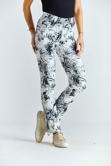 Dámské kalhoty do gumy listy šedé