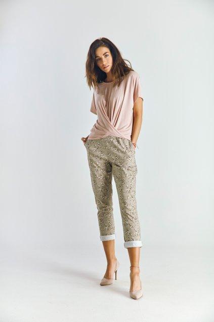 Dámské volnočasové kalhoty kytičky béžové