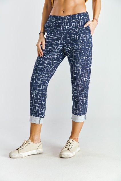 Dámské volnočasové kalhoty káro modré