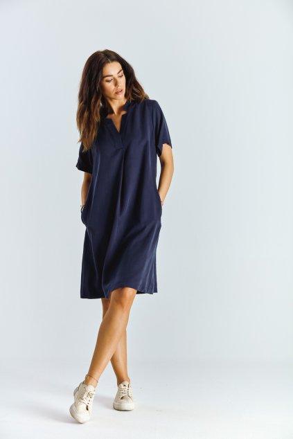 Dámské šaty áčkové modré