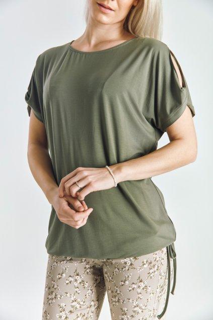 Dámský top s překladem na rukávech khaki