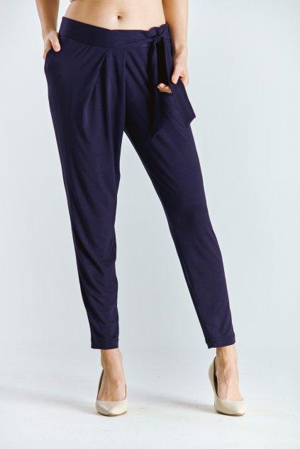 Dámské kalhoty s vázačkou tm.modré