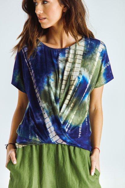 Dámský top řasený batika zelená