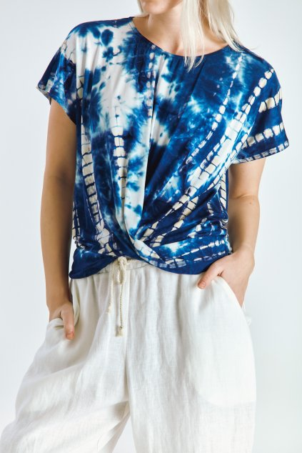 Dámský top řasený batika modrá