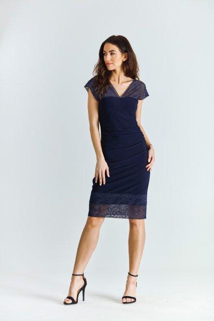 Dámské šaty s krajkou modré