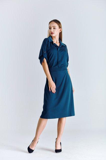petrolejové dámské šaty košilové