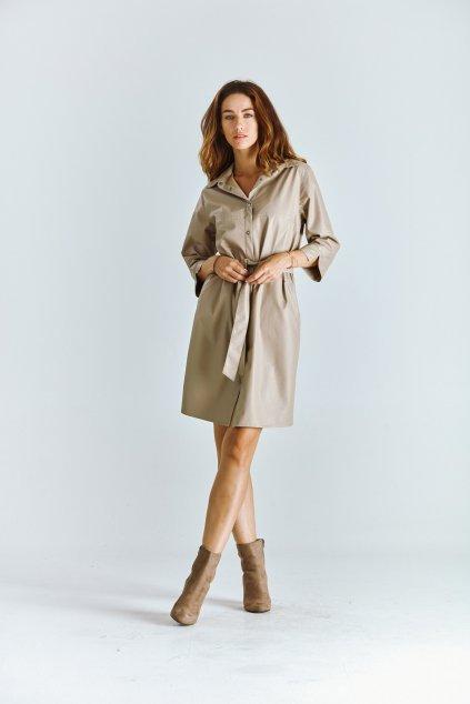 košilové dámské šaty koženkové