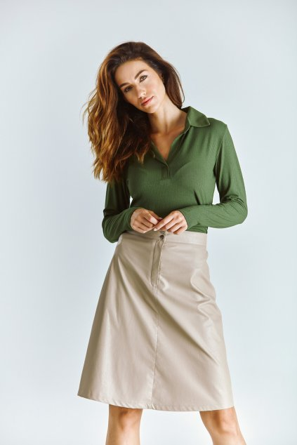 koženková dámská sukně áčková