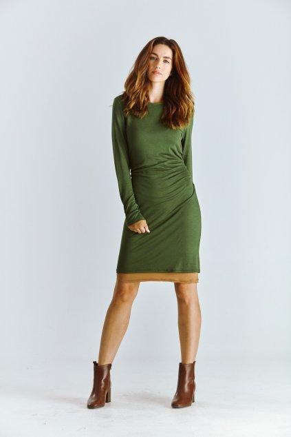 úpletové dámské šaty zelené