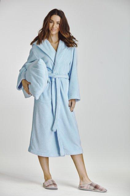 modrý dámský župan s kapucí dlouhý