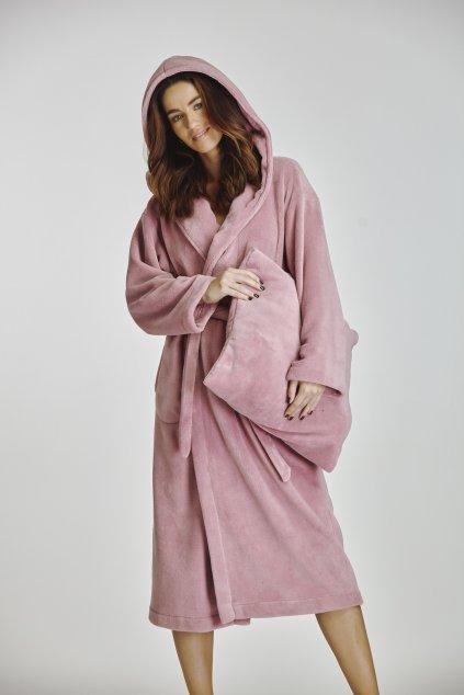 dlouhý dámský župan s kapucí růžový