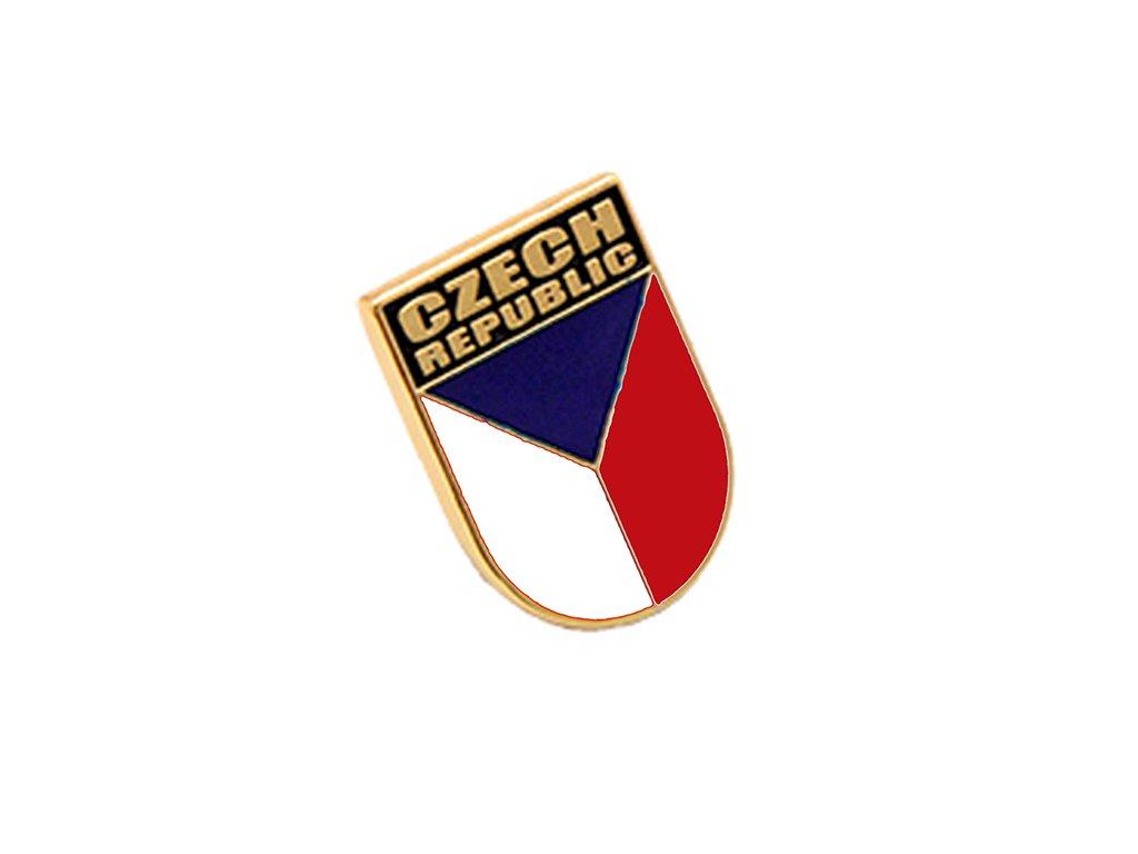 Odznak ČR – vlajka České republiky, nápis Czech Republic. Státní symbol ČR.pins czech republic