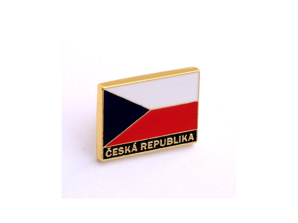 Odznak ČR – vlajka České republiky, nápis Česká republika. Státní symbol ČR.czech pin.czech flag