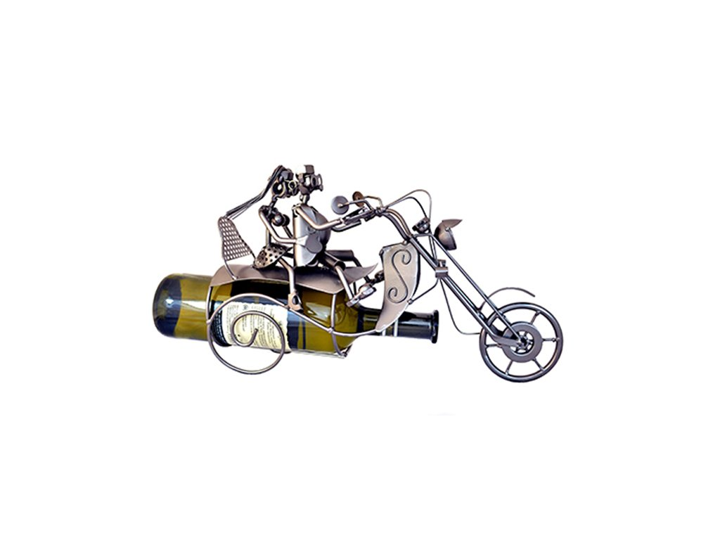 Kovový stojan na víno - Pár na motorce