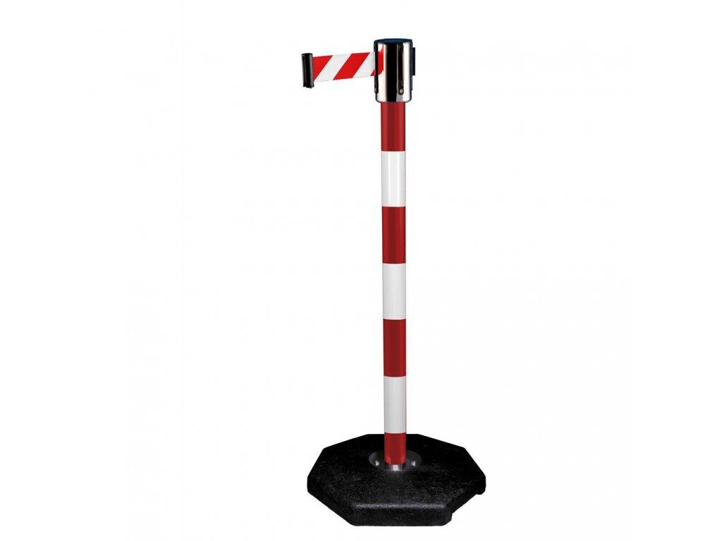 50MRRW270RW, 50MRRW450RW  Zahrazovací průmyslový sloupek červený s pruhy a pásem 2,7m a 4,5 m, červený s gumovou základnou