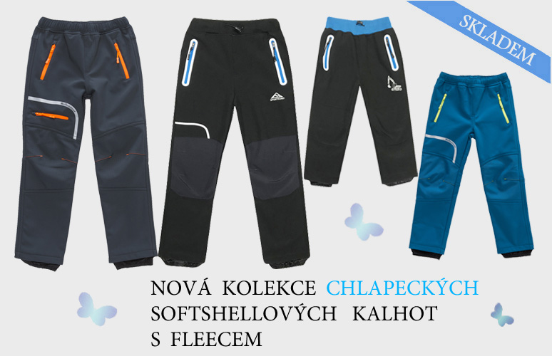 Nová kolekce chlapeckých softshellových kalhot s fleecem