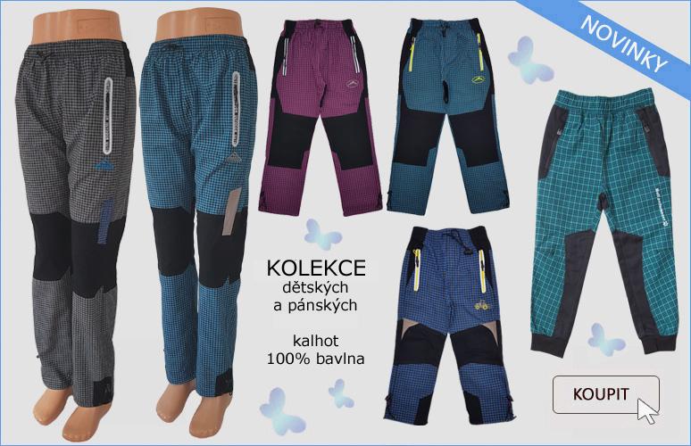 dětské a pánské letní plátěné kalhoty