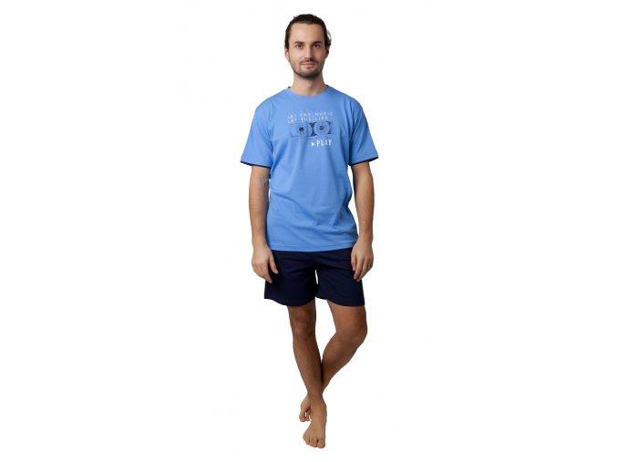 CALVI pánské pyžamo krátké 19-092 světle modrá