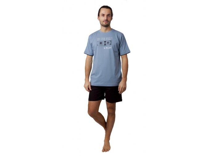 CALVI pánské pyžamo krátké 19-092 šedá