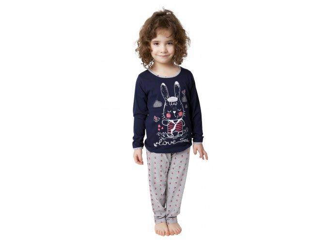 CALVI dívčí pyžamo dlouhé 19-077 tmavě modrá
