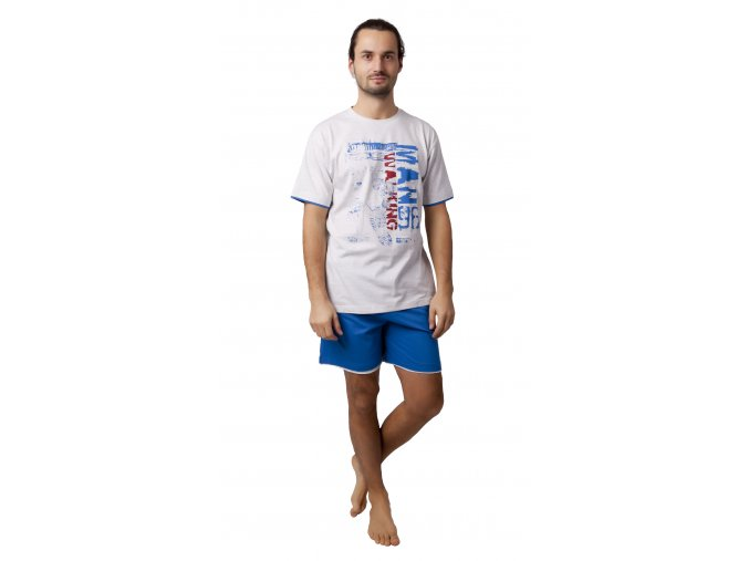 CALVI pánské pyžamo krátké 19-093 královská modrá