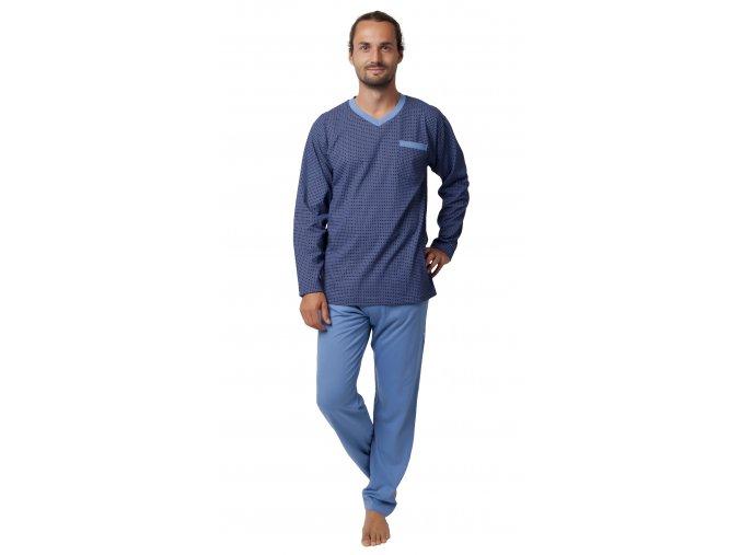 CALVI pánské pyžamo dlouhé 19-548 modrá