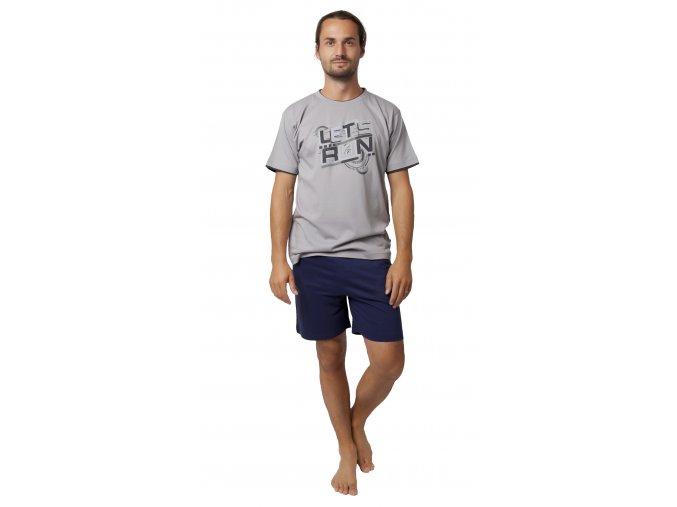 CALVI pánské pyžamo krátké 19-533 šedá