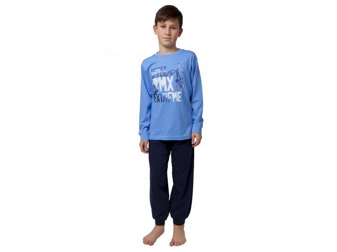 CALVI chlapecké pyžamo dlouhé 20-123 světle modrá