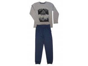 S2856B šedý melír+tmavě modré kalhoty