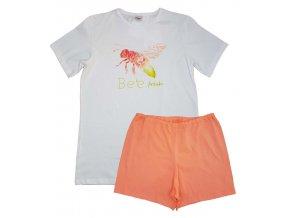 PLEAS dívčí pyžamo 165408 bílo-oranžová