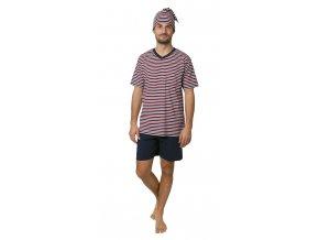 CALVI pánské pyžamo krátké 19-081 červeno-modrá